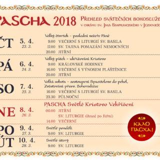 pascha 2018 - rozpis Bohoslužeb