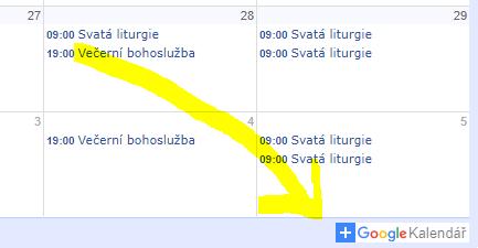 google kalendář bohoslužby