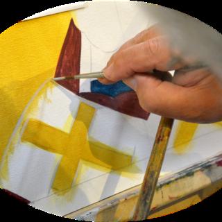 malování ikony - detail